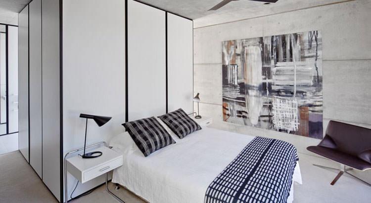 Camera da letto elegante in bianco e nero n.31