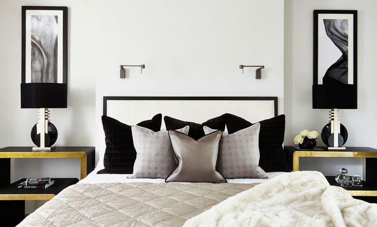 Camera da letto elegante in bianco e nero n.34