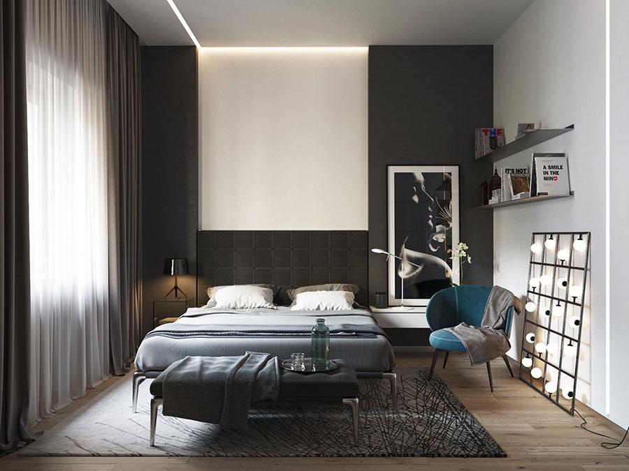 Arredamento camera da letto in bianco e nero n.36