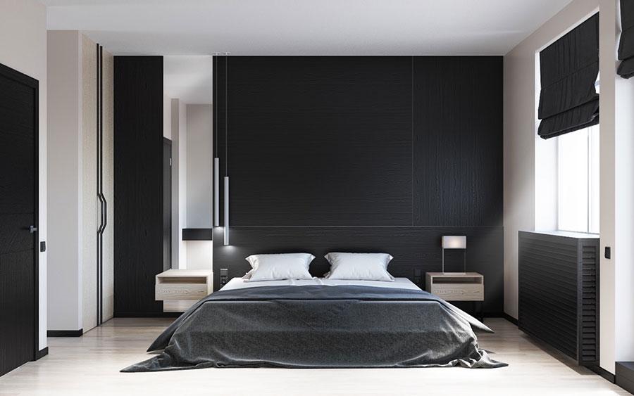 Arredamento camera da letto in bianco e nero n.37