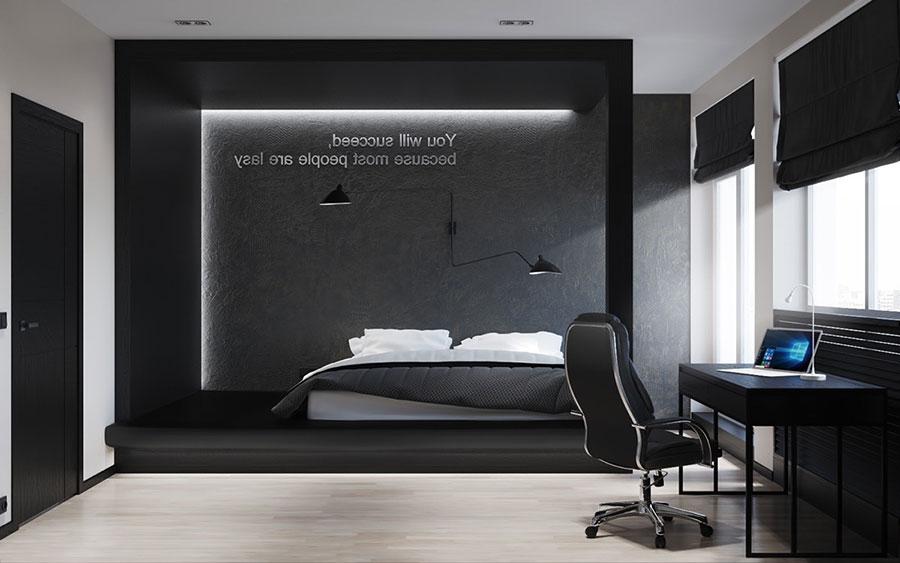 Arredamento camera da letto in bianco e nero n.38