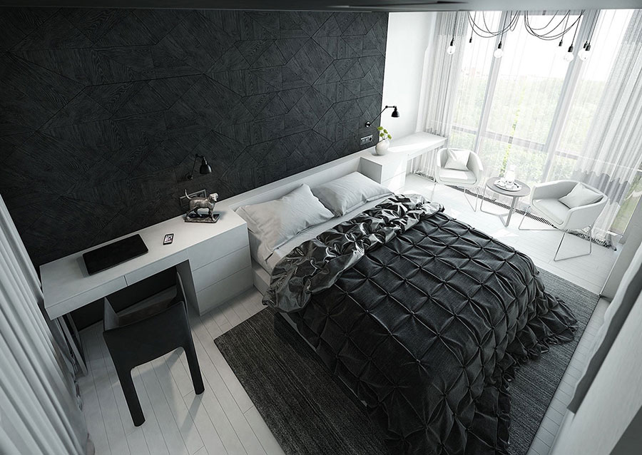 Arredamento camera da letto nero e bianco n.01