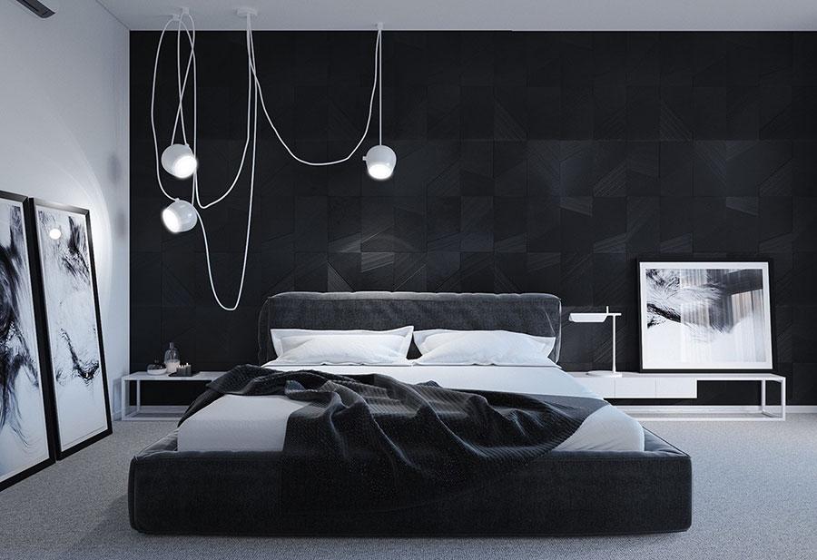 Arredamento camera da letto nero e bianco n.02