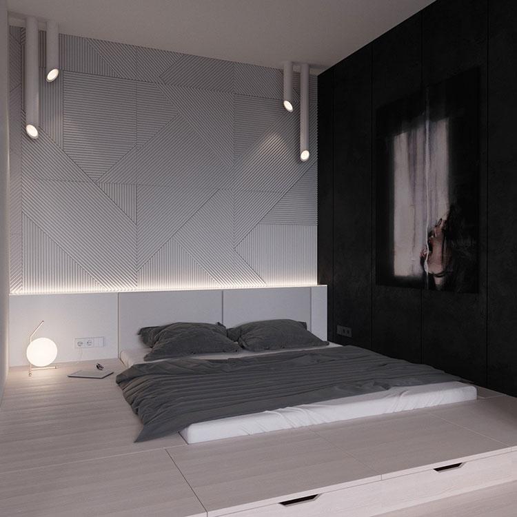 Arredamento camera da letto nero e bianco n.03