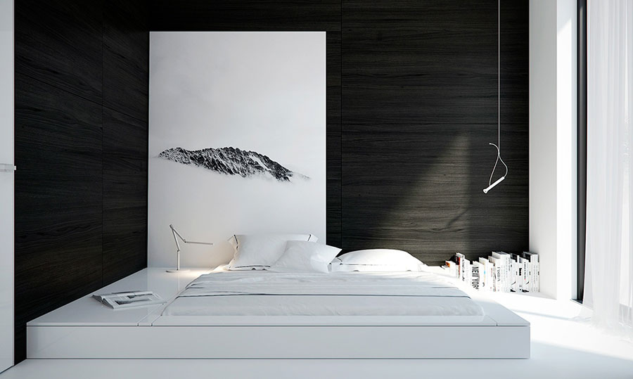 Arredamento camera da letto nero e bianco n.04