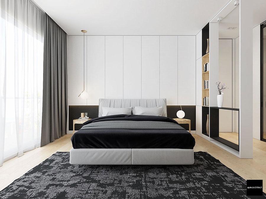 Arredamento camera da letto in bianco e nero n.43