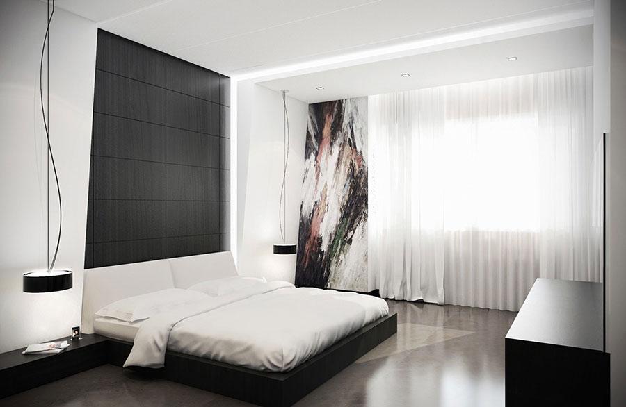Arredamento camera da letto nero e bianco n.05