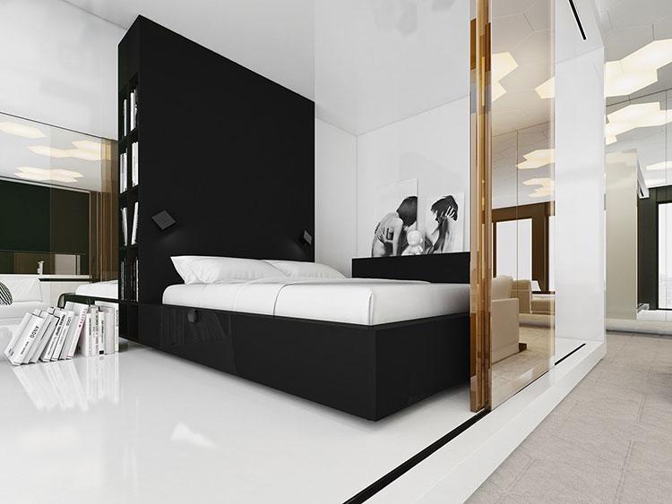 Arredamento camera da letto in bianco e nero n.46