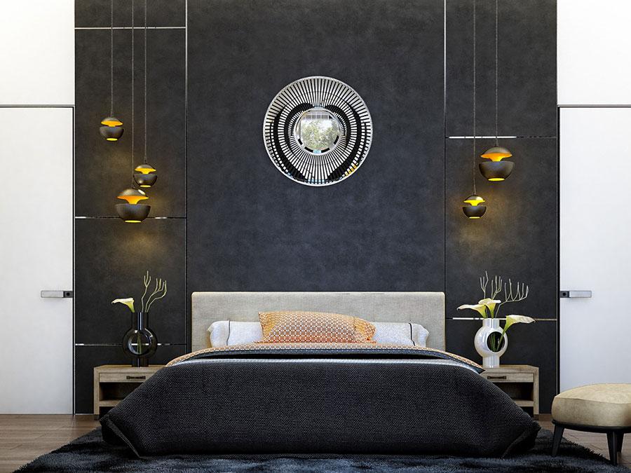 Arredamento camera da letto in bianco e nero n.47