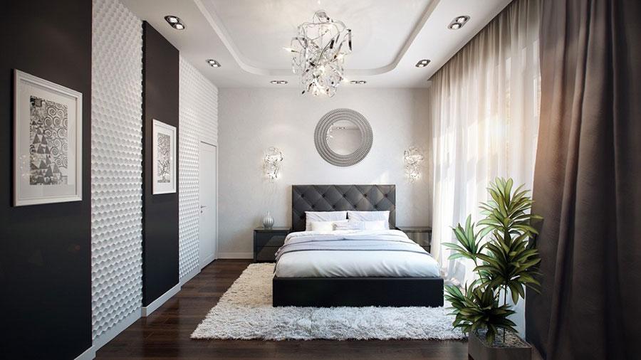 Arredamento camera da letto in bianco e nero n.48