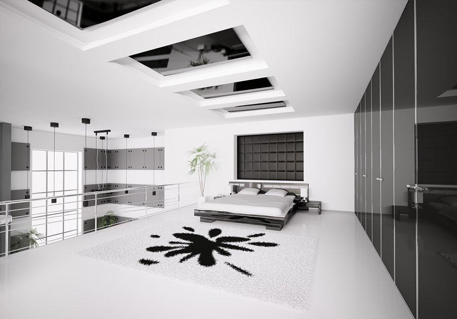 Arredamento camera da letto in bianco e nero n.49