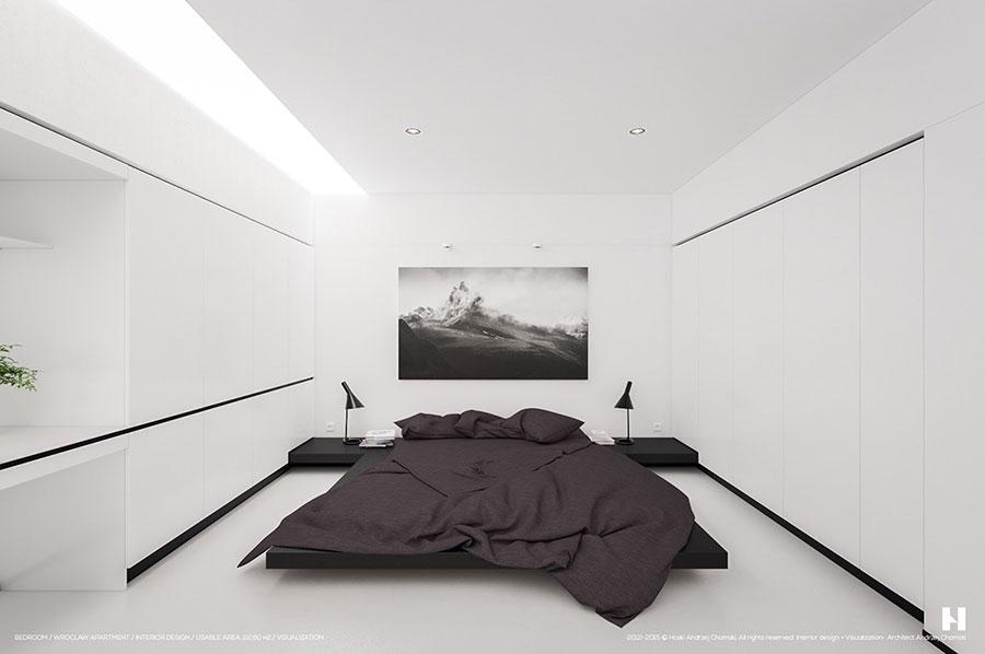 Arredamento camera da letto in bianco e nero n.50