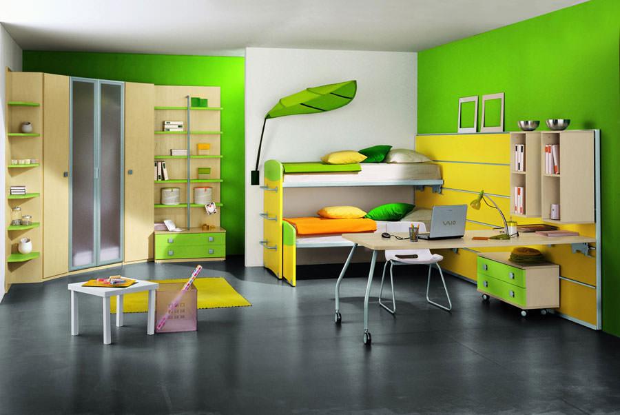 Idee per camerette con pareti verdi n.2