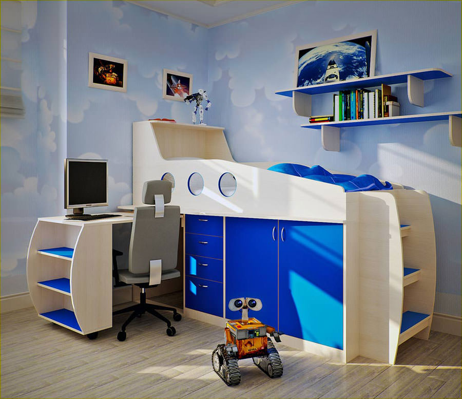 Cameretta per bambini dal design moderno n.34