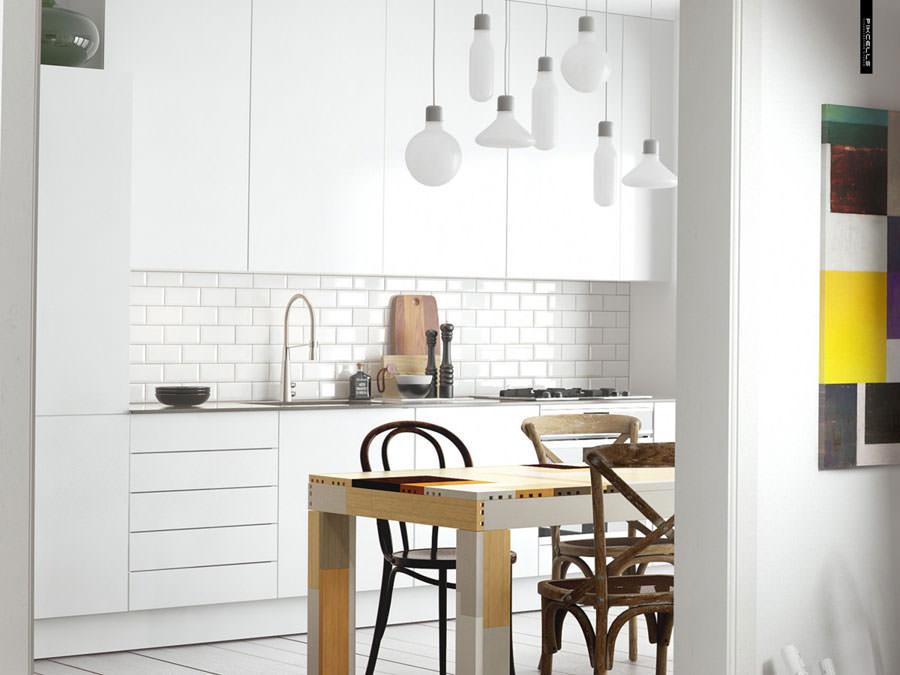 Cucina bianca dal design in stile scandinavo n.01