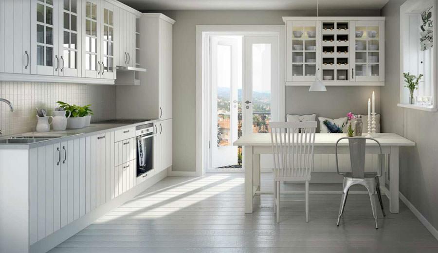 Cucina bianca dal design in stile scandinavo n.04