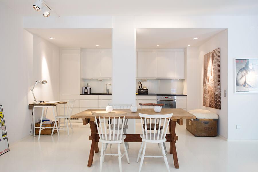 Cucina bianca dal design in stile scandinavo n.08