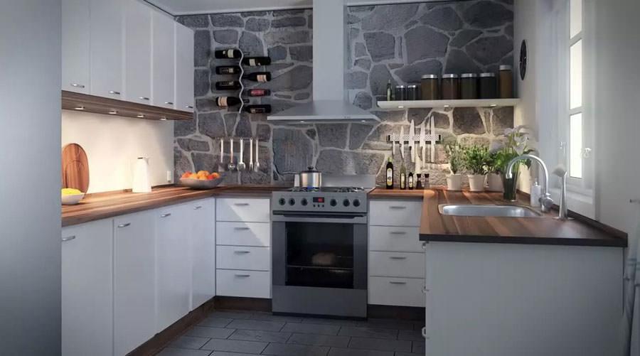 Cucina bianca dal design in stile scandinavo n.10