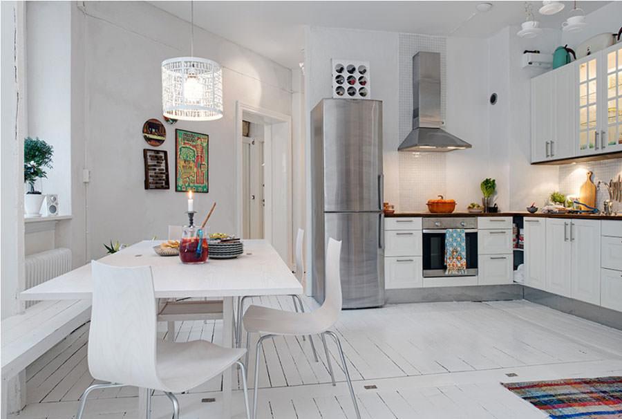 Cucina bianca dal design in stile scandinavo n.17