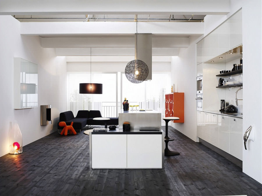 Cucina bianca dal design in stile scandinavo n.18