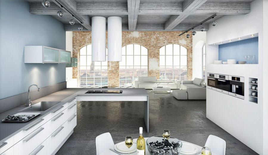 Cucina bianca dal design in stile scandinavo n.20