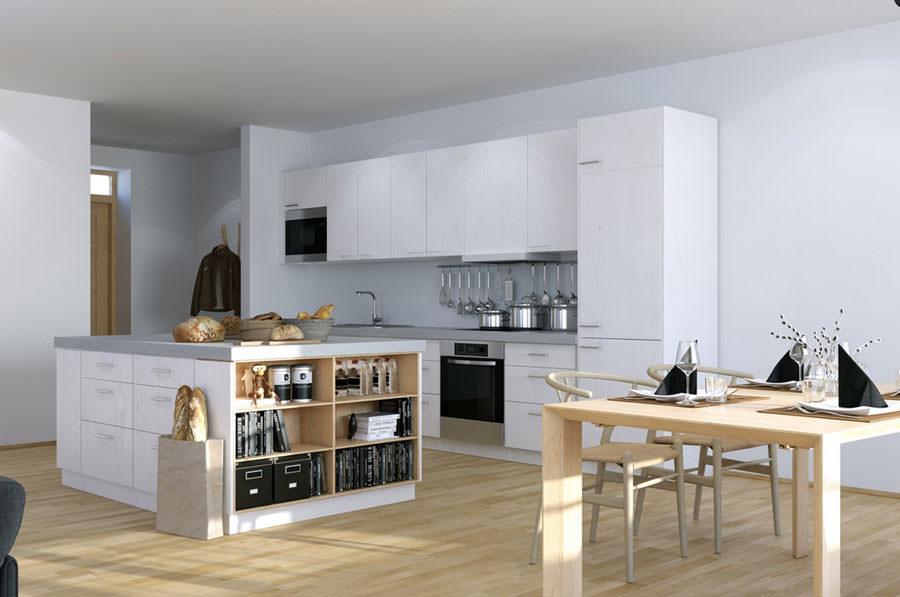 Cucina bianca dal design in stile scandinavo n.27