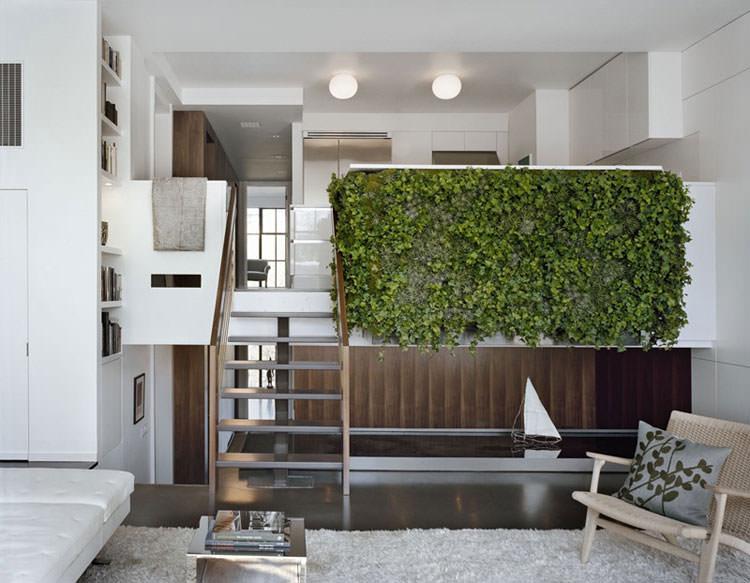 Piano rialzato rivestito con edera per creare giardini interni