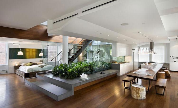 Giardini interni utilizzati per separare gli ambienti di una casa
