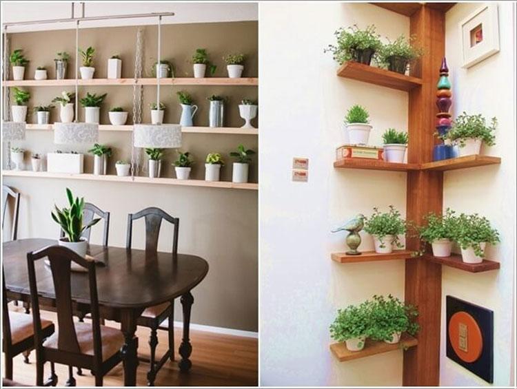 Arredare con le piante posizionate sulle mensole