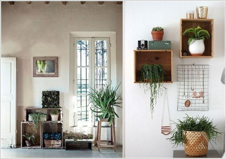Vecchie cassette di legno per contenere piante sui muri