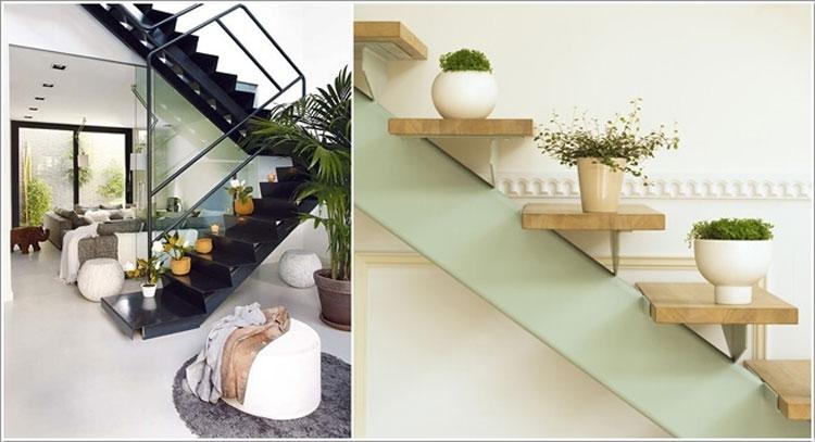 Piante sui gradini di una scala