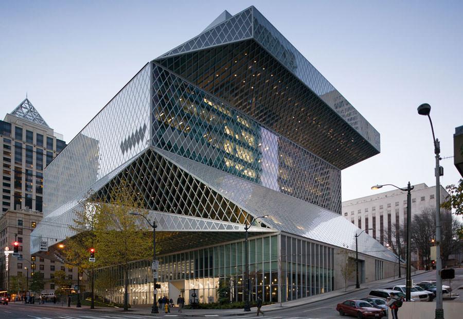 Foto della biblioteca centrale di Seattle