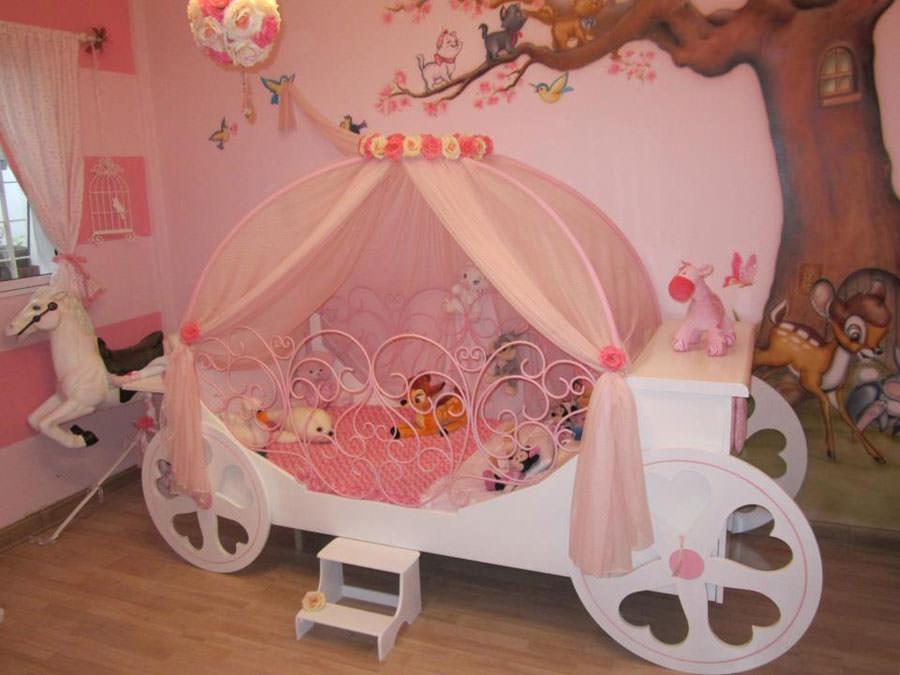 20 meravigliose camerette da principessa disney per bambine ... - Letto Carrozza Disney