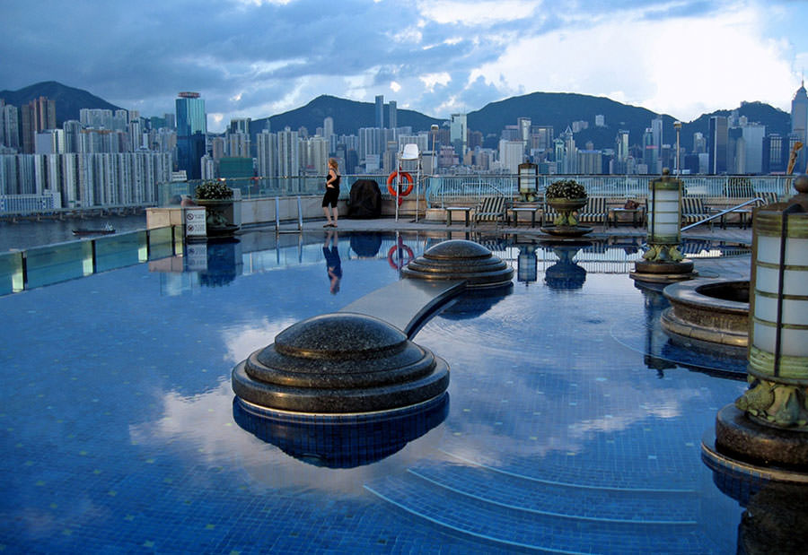 Piscina sul tetto dell'Harbour Plaza Hotel - Hong Kong