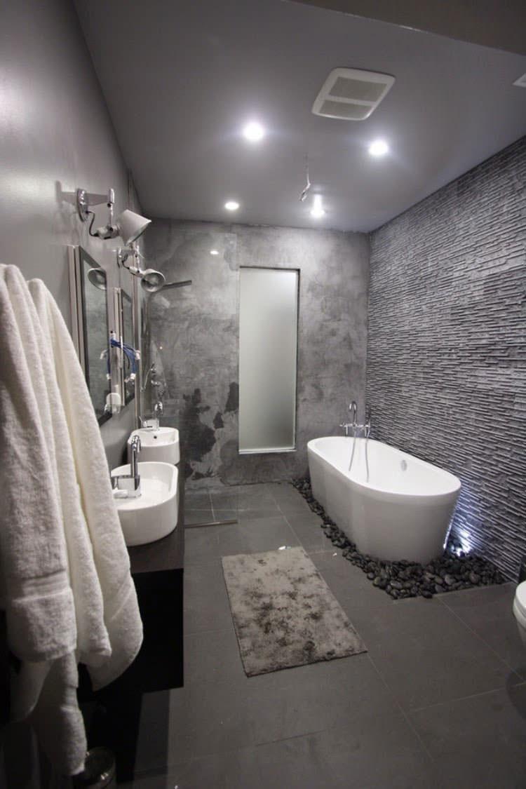 Bagno con pareti grigie n.02