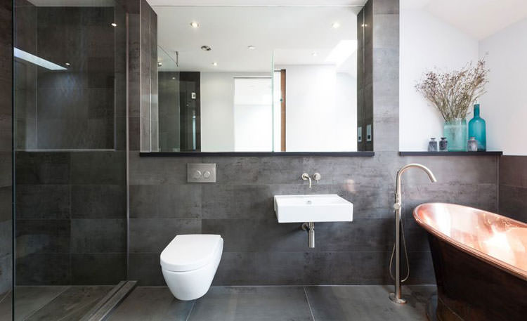 20 idee di arredamento bagno in grigio - Bagno moderno grigio ...
