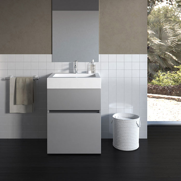 20 idee di arredamento bagno in grigio - Idee mobili bagno ...