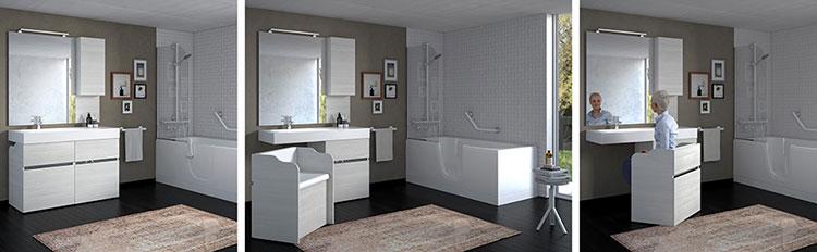 Modello di mobile bagno grigio modello New Age di Goman n.03