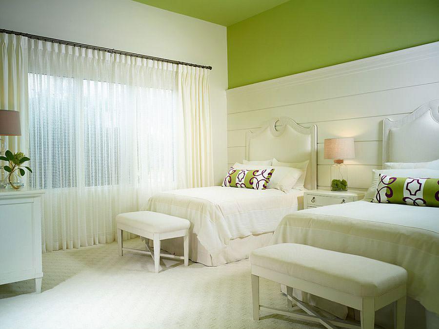Camera da letto nelle tonalità del verde n.10