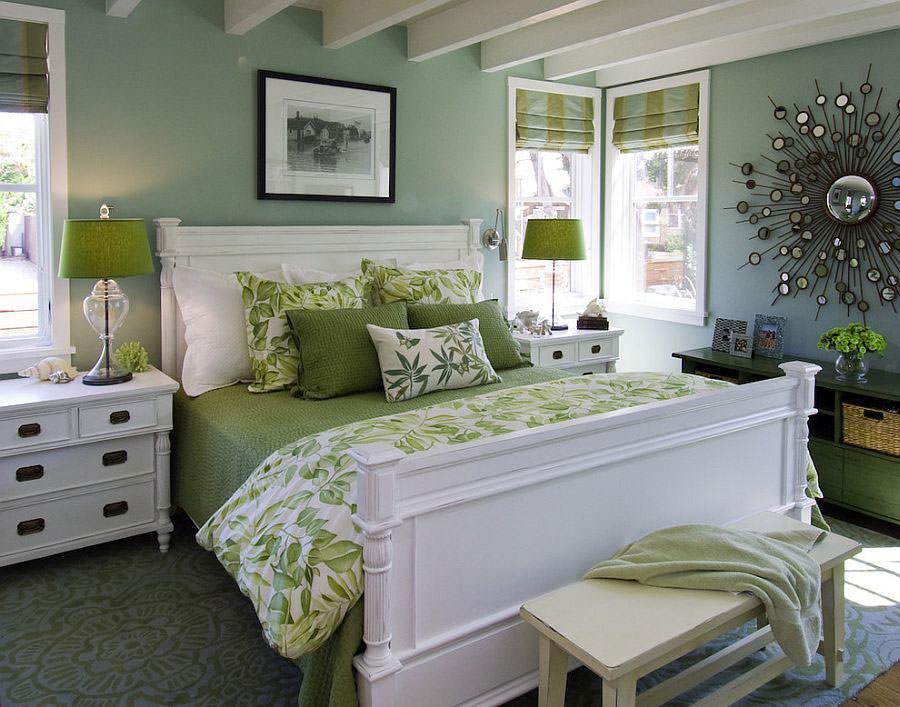 Camera da letto nelle tonalità del verde n.12