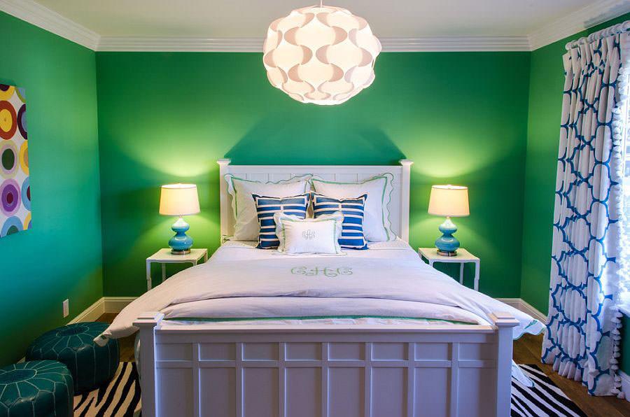 Camera da letto nelle tonalità del verde n.13