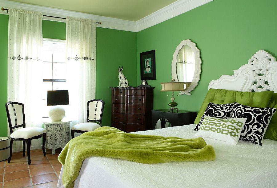 Camera da letto nelle tonalità del verde n.14