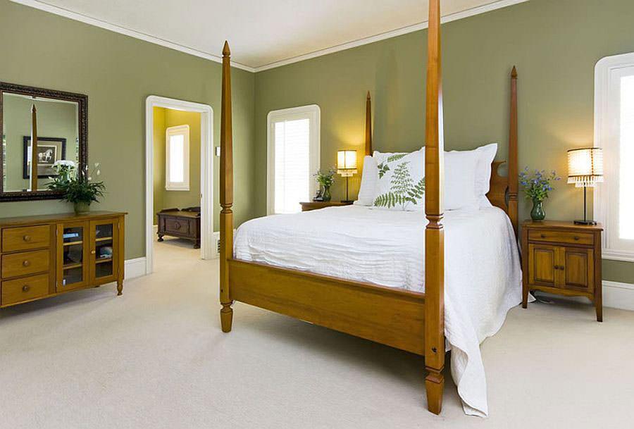 Camera da letto nelle tonalità del verde n.15