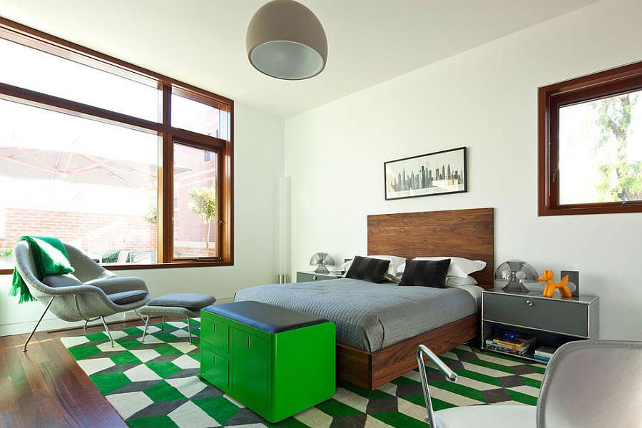 Camera da letto nelle tonalità del verde n.18
