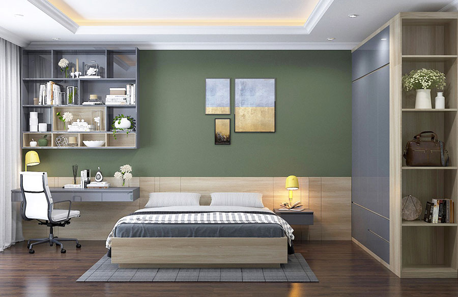 Idee per arredare camere da letto verde di design n.02
