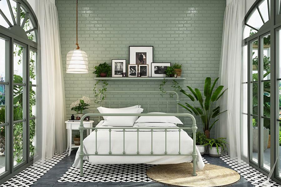 Idee per arredare camere da letto verde di design n.07