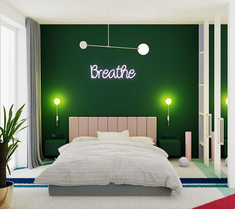 Idee per arredare camere da letto verde di design n.08