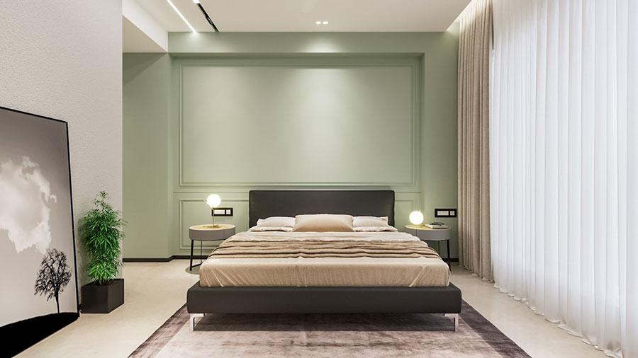 Idee per arredare camere da letto verde di design n.09