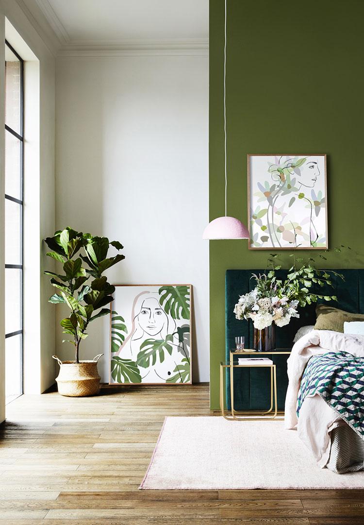 Idee per arredare camere da letto verde di design n.13