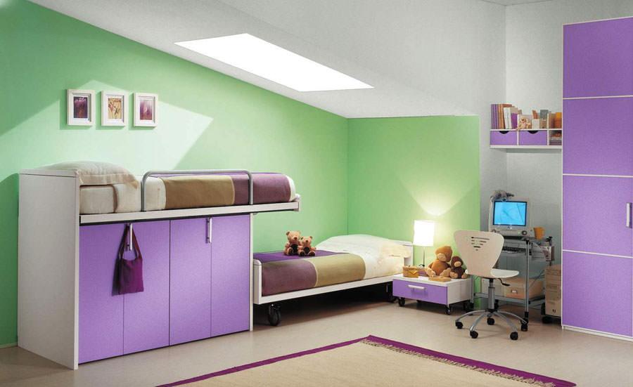 Idee per camerette con pareti verdi n.1